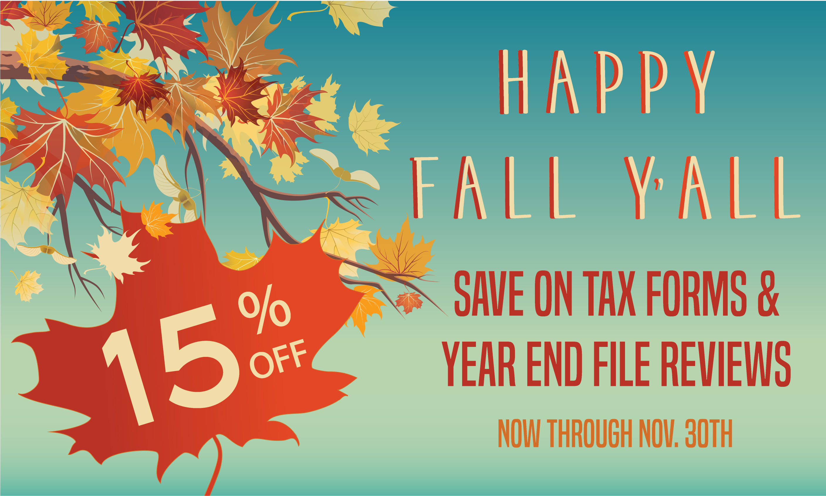 15% OFF FALL SALE