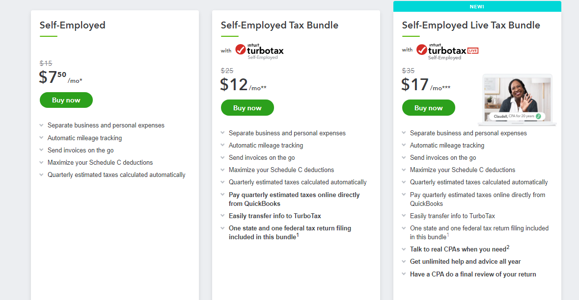 QuickBooks Self-Employed versions