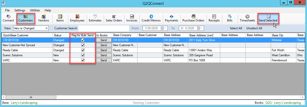 Q2QConnect Syncing Customers